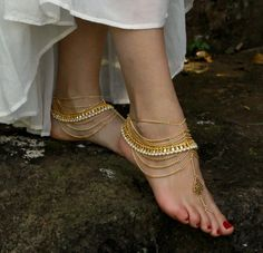 Barefoot anklet sandals for beach lovers and boho goddesses. Sold as pair. Gold metal with beading and silver jewels. Style: 'Palace B1431'