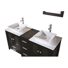 @Overstock - Update your bathroom and your home with a designer vanity and double sink setBathroom furniture features cabinet of quality solid oak woodVanity set includes 2 each of countertops, sink bowls, faucets, mirrors and pop-up drainshttp://www.overstock.com/Home-Garden/Design-Element-Double-Sink-Contemporary-Bathroom-Vanity-Set/4066873/product.html?CID=214117 $1,799.00