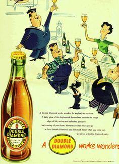 Wall art. old beer  advert Double Diamond works wonders Reproduction poster