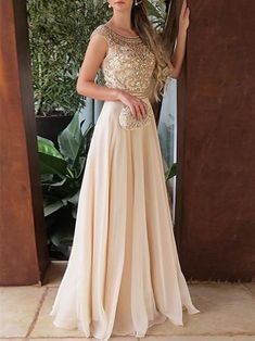 Elegant Chiffon Round Neck Cap Sleeves Long A Line Prom Dress with Beading, Prom dress for teens,Party dresses for woman Prom Dresses Two Piece, Prom Dresses For Teens, Prom Dresses With Sleeves, A Line Prom Dresses, Grad Dresses, Cheap Prom Dresses, Evening Dresses, Bridesmaid Dresses, Formal Dresses