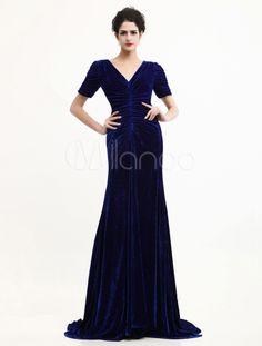 Blue Velvet Dress | ... -Blue-Velvet-V-Neck-Sweep-Fashion-Celebrity-Dress-239798-1979411.jpg