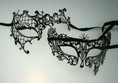 His and hers filigree metal phantom masquerade masks  £76.99