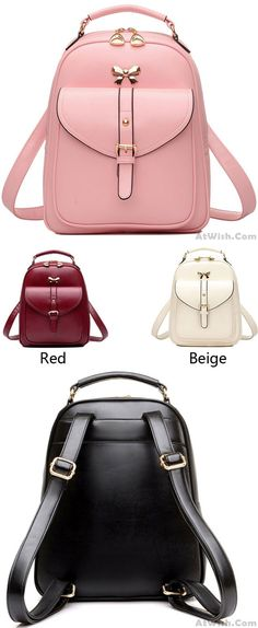 c713267d9955 Cute Girls' Bow Buckle Student Bag Simple PU College Backpack for big sale  ! #
