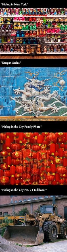 """Chinese artist Liu Bolin paints himself to blend into his surroundings as part of his series """"Hide in the City"""""""