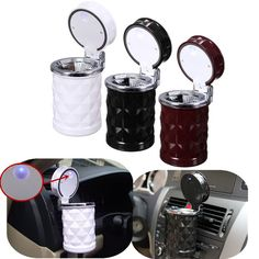 F, LED Portable Auto Car Cigarette Ash Ashtray Smokeless Stand Cylinder Cup Hold