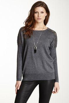 Vip Studded Crochet Shoulder Sweater