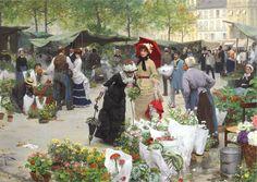 FRENCH PAINTERS: Victor-Gabriel GILBERT Le Marché des Fleurs 1880