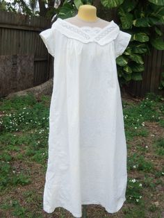 "front view - Original Civil War Era Evening Chemise C 1860 | eBay seller sadira33610; no opening, bust: 50""; length: 42"" in front"