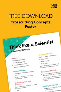 Download Think Like a Scientist posters for your classroom. Getting students comfortable thinking like scientists is no small feat, but it's the best way to teach science. Visit Shaped, the official blog of HMH The Learning Company.   #science #classroomposters #classroom #crosscutting Science Resources, Teaching Science, Learning Resources, The Learning Company, Classroom Posters, Cause And Effect, High School Students, Scientists, Problem Solving