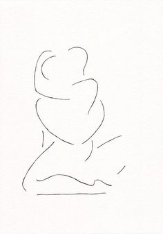 Minimalist black and white lovers drawing. Erotic line art sketch by Siret Roots.