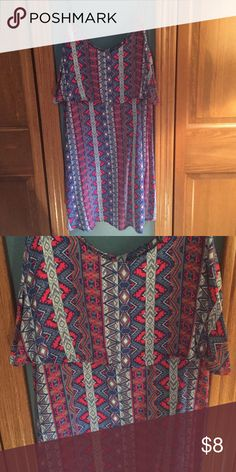 Cute Patterned Sun Dress Worn few times and in great condition! Snug fit with flowy top section Dresses Mini