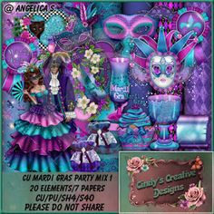 "CCDesigns: New in store's ""CU Mardi Gras Party Mix 1"""