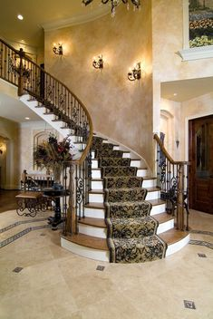 faux-finish-walls-staircase-traditional-with-white-molding-mediterranean-accent-and-garden-stools.jpg 662×990 pixels