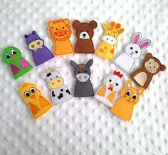 12 pcs Animal Finger Puppets - Kids Felt Puppet, Children Felt Toys, Animals Set