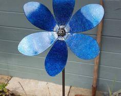 Upcycled Glass Flower Garden Sculpture Clear by GardensAndCrafts