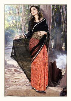 #Black & #Orange Simple #Fancy Net Saree