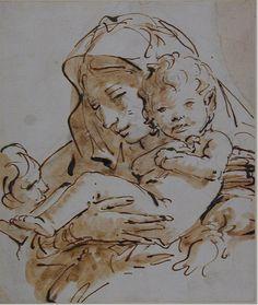 Giovanni Battista Tiepolo (1696-1770), Ritratto della Vergine col Bambino e con San Giovannino, penna e inchiostro bruno con gouache marrone su gessetto nero, su carta bianca. Oxford, The Ashmolean Museum.