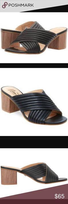 NEW Nanette Lepore Ray Sandals Color is black.  New in box (without lid) Breeze into easy chic with the Ray mule. Smooth leather crisscross panel upper. Slip-on design. Round-toe silhouette. Feminine pleated accent at vamp. Man-made lining. Lightly padded footbed. Block heel. Man-made outsole. Imported. Product measurements were taken using size 8.5, width M. Please note that measurements may vary by size. Measurements: Heel Height: 2 1⁄4 in Weight: 9 oz Platform Height: 1⁄4 in Nanette…
