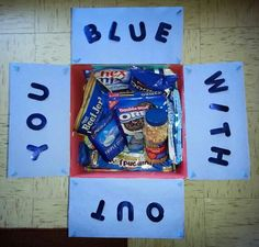 """Care Package #1 left for Afghanistan today - I went with the """"blue theme"""" ;)"""