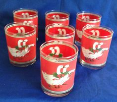 Set of 7 Vintage Culver Christmas Goose Holly Wreath 12 ounce Holiday Rocks Lowball Tumbler Glasses 1980s by yourmamashouse on Etsy