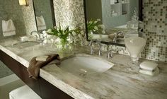 "Pinner wrote: ""My favorite look for marble, but this is Corian...?! Wow"" - this is called sandlewood. Click on pix ~~"