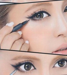 Makeup Tricks That Make Your Small Eyes Look BIGGER! If you have small eyes (like me) you can do this make-up to make them look bigger.If you have small eyes (like me) you can do this make-up to make them look bigger. Cat Eye Makeup, Hooded Eye Makeup, No Eyeliner Makeup, Kiss Makeup, Hair Makeup, Asian Makeup, Eyeliner Liquid, Korean Makeup, Eyeliner Styles
