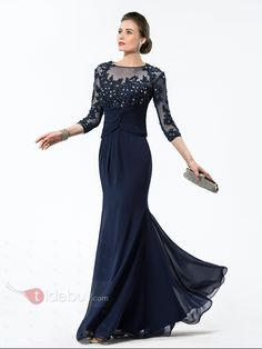 8ab05bb935 Appliques 3 4 Length Sleeve Mother of the Bride Dress. Mermaid Evening  DressesEvening GownsSequin ...