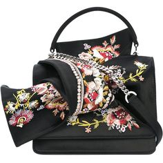 Nº21 floral embroidery shoulder bag ($799) ❤ liked on Polyvore featuring bags, handbags, shoulder bags, black, shoulder handbags, 100 leather handbags, genuine leather shoulder bag, leather shoulder bag and genuine leather purse