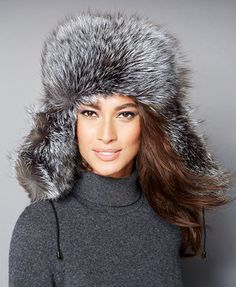 ddcfa25ab65ee The Fur Vault Black   Silver Fox Fur Trapper Hat   Reviews - The Fur Vault  - Women - Macy s