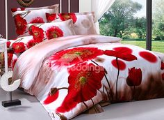 Charming Poppy Flower Print 4 Piece Cotton Duvet Cover Gallery