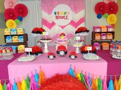 Pink Pokemon birthday party dessert table! See more party planning ideas at CatchMyParty.com!