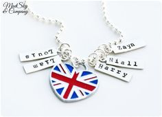 Hand Stamped necklace - One Direction Charms - Harry, Louis, Niall, Zayn, Liam - Gift For Teens