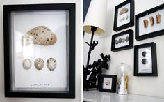 a beautiful way to memorialize a special trip, shadow boxes to frame special little items, here rocks and pretty wood.