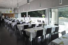 Gallery restaurant located on the lower levels of the building, and opening onto the lower grounds of UCC Conference Room, Restaurant, Architecture, Gallery, Building, Table, Furniture, Home Decor, Arquitetura