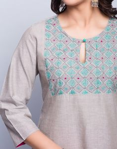 Cotton ChambrayPanelledSujni EmbroideredRound SleevesHand Wash Separately in Cold Water Embroidery On Kurtis, Kurti Embroidery Design, Embroidery Suits, Embroidery Fashion, Neck Designs For Suits, Neckline Designs, Dress Neck Designs, Blouse Designs, Salwar Pattern