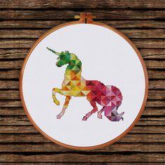Geometric Unicorn cross stitch pattern  Modern baby fantasy animal counted chart  Colorful nursery design  DIY room house decor shower gift