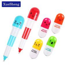 12 PCS Cute Smiling Face Pill Ball Point Pen Pencils Telescopic Vitamin Capsule Ballpen for School Office Supplies #Affiliate