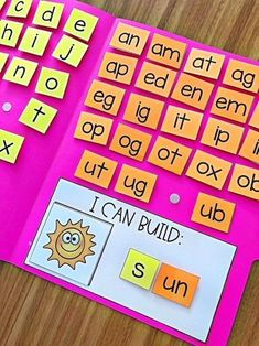 Want a fun activity for students to practice building CVC words? This activity is a perfect addition to literacy centers, intervention programs and so much more. There are 72 picture cards included which cover short a, short e, Teaching Phonics, Preschool Learning, Teaching Reading, In Kindergarten, Preschool Activities, Teaching Kids, Word Family Activities, Short Vowel Activities, Reading Intervention Classroom