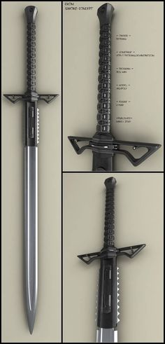 CROM sword by peterku on DeviantArt Sci Fi Weapons, Weapon Concept Art, Weapons Guns, Katana, Fantasy Sword, Fantasy Weapons, Swords And Daggers, Knives And Swords, Armadura Cosplay