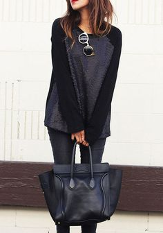 Love the black sweater with sequins, and black bag