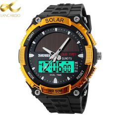 Cheap watch Buy Quality watch military directly from China watch solar Suppliers: SKMEI 2016 Men Sports Watches SOLAR POWER LED Digital Quartz Watch Waterproof Outdoor Dress Solar Watches Military Watch Solar Watch, Led Watch, Mens Sport Watches, Watches For Men, Men's Watches, Bracelet Cuir, New Energy, Solar Power, Power Led