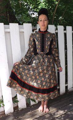 Gunne Sax Black Print Velvet Dress 9 Victorian Hippie by soulrust