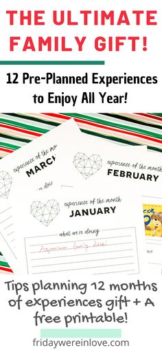 The Ultimate Family Gift: Experience Gifts for Kids: A FREE PRINTABLE to help you gift a year of experiences with a list of the best experience gifts for kids and family to make memories throughout the year! #yearofexperiences #experiencegifts #giftideas #freeprintable #familygiftideas #christmasgifts #fridaywereinlove