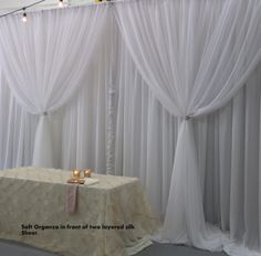 Soft organza in front of white backdrop