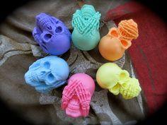 Hear no evil See no evil Speak no evil colorful skulls by PirateMonkeyArt