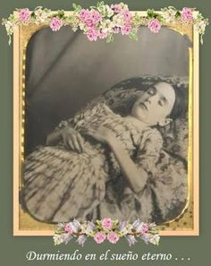 Post mortem photo of Edith Hathaway, who died of diptheria in 1876. She was 12 years old.