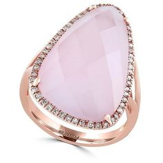 Effy Rose Quartz, Diamond and 14K Rose Gold Ring (1,230 CAD) ❤ liked on Polyvore featuring jewelry, rings, pink, fine jewelry, rose quartz ring, pink gold ring, diamond rings and pave diamond ring