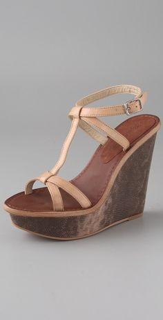 Hazel T Strap Wedge Sandals