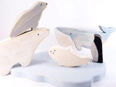 Wooden Toys Vintage floe Arctic - Whale - Polar Bear - seal - Pinguin // Baby toys // vintage toys // distressed toys // montessori toys by DesChosesEnBois on Etsy https://www.etsy.com/listing/259313002/wooden-toys-vintage-floe-arctic-whale