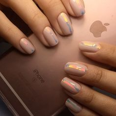 Opting for bright colours or intricate nail art isn't a must anymore. This year, nude nail designs are becoming a trend. Here are some nude nail designs. Line Nail Designs, Acrylic Nail Designs, Art Designs, Acrylic Nails, Oval Nails, Nude Nails, Uñas Fashion, Fashion Design, Lines On Nails